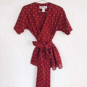 Caron Callahan Katia Tie Blouse NWT S Embroidered